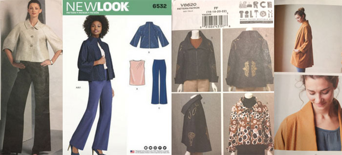 Jacket sewing patterns - V1098, New Look 6532, V8620 and the Oversize Kimono Jacket by Jenny Gordon - CSews.com