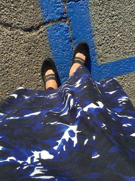 Blue floral print A-line skirt - CSews.com
