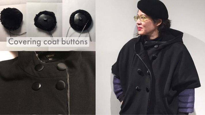 Refreshing an old coat by recovering the buttons