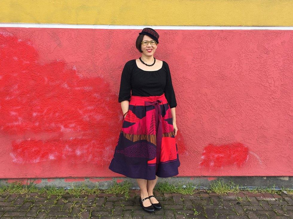 Frocktails skirt for Bay Area Sewists event using Marimekko fabric - CSews.com
