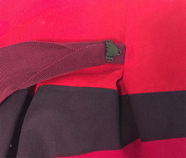 Adjustable waist of colorful skirt - hook attached to Petersham ribbon - CSews.com