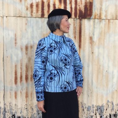 Elastic Tie Sweater - pattern by the Assembly Line - wax print fabric