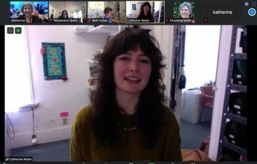 Zoom screen shot of Bay Area Sewists Meetup with Stonemountain & Daughter Fabrics social media manager and a buyer for the store.