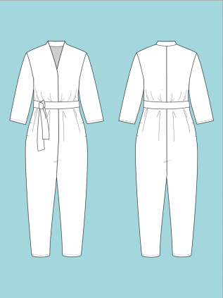 Line drawing of V-Neck Jumpsuit by The Assembly Line