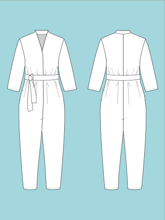 V-Neck Jumpsuit by The Assembly Line - line drawing