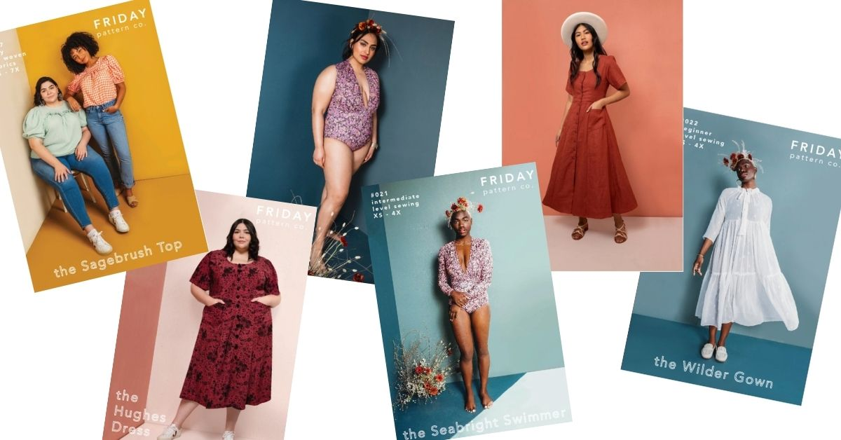 Collage of images showing models wearing designs of Friday Pattern Company - dresses, swimsuits, and tops