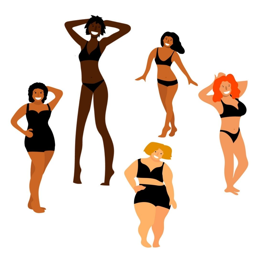 Illustration showing five women of differnt heights and body shapes