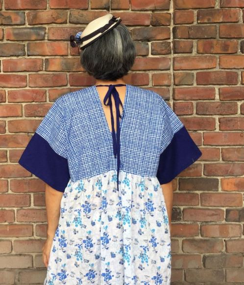 Back view of Parasol Dress - color blocked - CSews.com