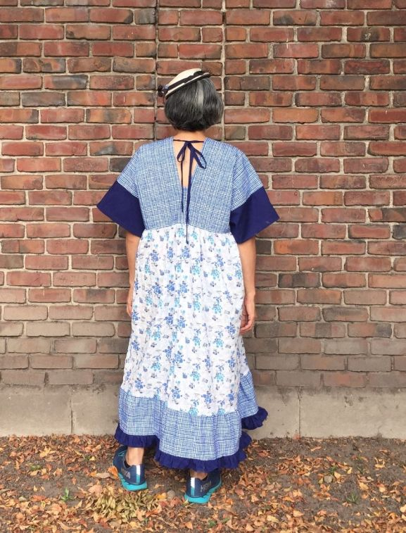 Parasol Dress, pattern by Cris Wood Sews - color blocked in blue plaid, blue and printed fabric, back view - CSews.com