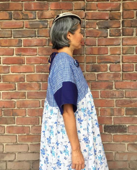 Parasol Dress, pattern by Cris Wood Sews - color blocked in blue plaid, blue and printed fabric - CSews.com