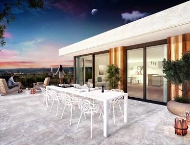 Visualisierung Terrasse bei Abendstimmung