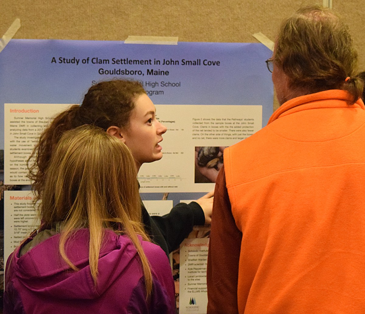 Sumner Memorial High School student presenting findings at the Maine Fishermen's Forum, March 2018