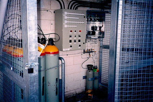 The SIROFLO controls and cylinders of Phosfume at Ardrossan silos