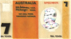 A polymer prototype: the CSIRO $7 banknote.