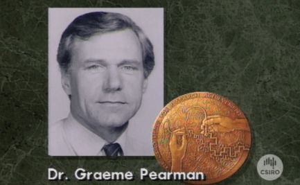 Graphic of Dr Graeme Pearman with CSIRO Medal.