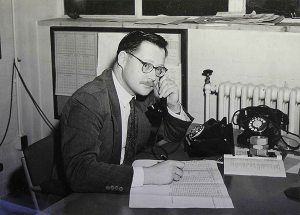 David Sangster at his desk in Harwell in 1957.