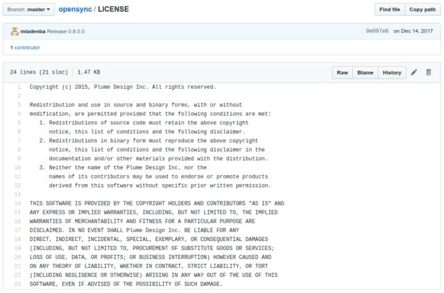 OpenSync est publié sous la licence BSD 3-clause. En effet, cette licence rend le logiciel lui-même disponible tout en protégeant l'image de marque du projet.