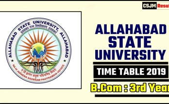 Allahabad State University Bcom 3 Year Time Table 2019