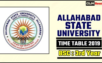 Allahabad State University Bsc 3 Year Time Table 2019