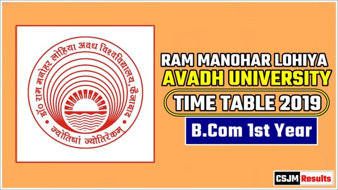 Avadh University [RMLAU] BCom 1 Year Exam Scheme 2019