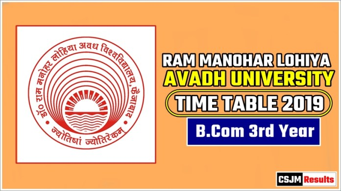 Avadh University [RMLAU] BCom 3 Year Exam Scheme 2019