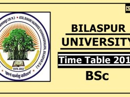 Bilaspur University BSc 1 2 3 Year Time Table 2019