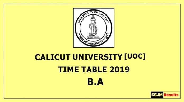 Calicut University [UOC] Time Table 2019 B.A