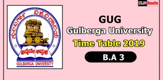 Gulberga University [GUG] B.A 3 Time Table 2019