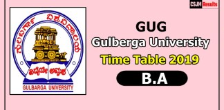 Gulberga University [GUG] B.A Time Table 2019