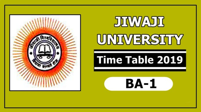 Jiwaji University BA 1 Year Time Table 2019