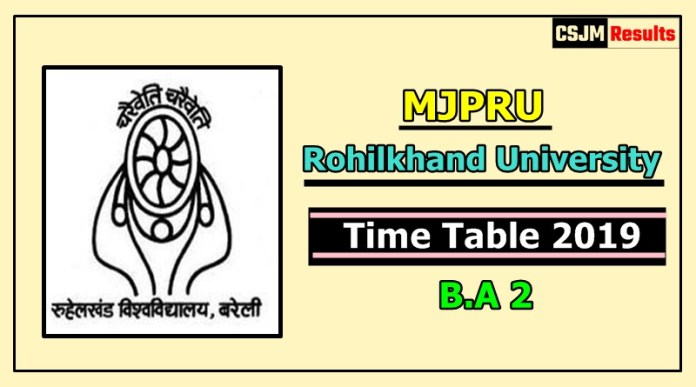 Rohilkhand University [MJPRU] B.A 2 Year Time Table 2019