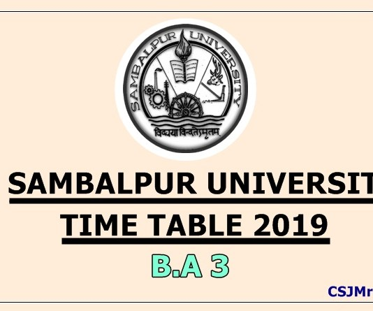 Sambalpur University Time Table 2019 B.A 3