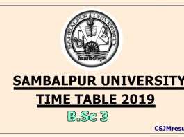 Sambalpur University Time Table 2019 B.Sc 3