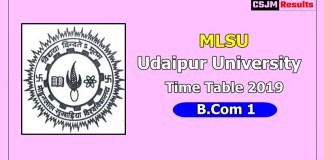 Udaipur University [MLSU] Time Table 2019 B.Com 1