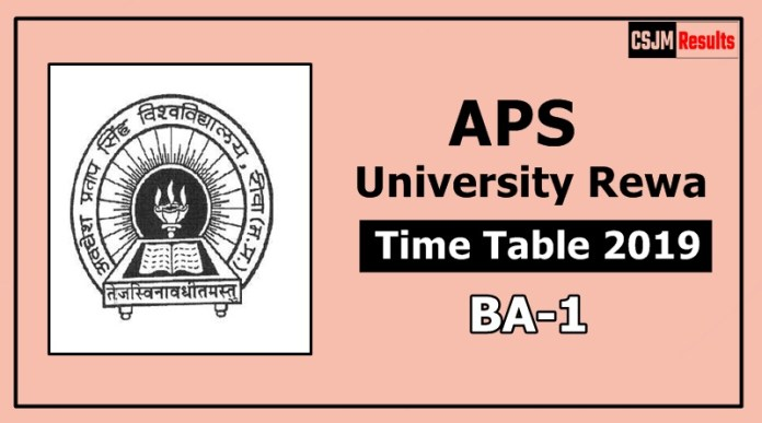 APS University Rewa BA 1 Year Time Table Exam Date Sheet 2019