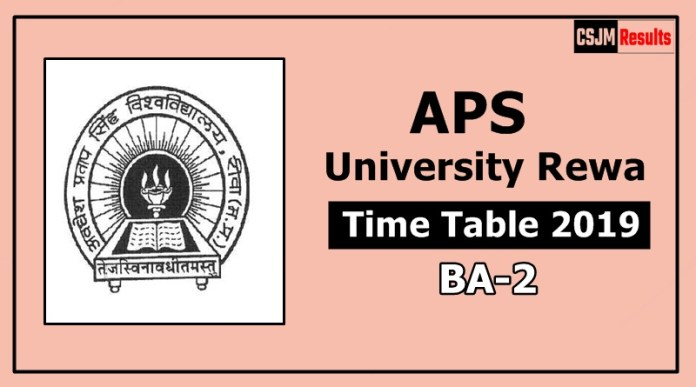 APS University Rewa BA 2 Year Time Table Exam Date Sheet 2019