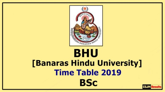 BHU [Banaras Hindu University] BSc 1 2 3 Year Time Table 2019