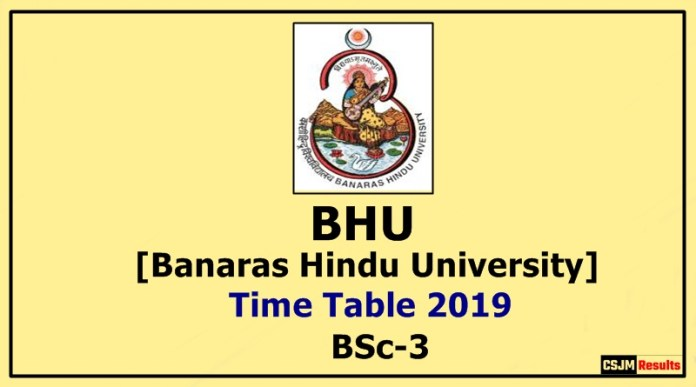 BHU [Banaras Hindu University] BSc 3 Year Time Table 2019
