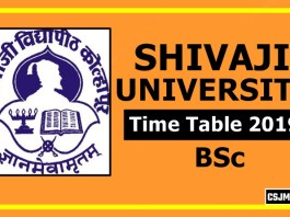 Shivaji University BSc 1 2 3 Year Time Table 2019 [Part-1 2 3]