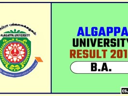 Algappa University BA 1st 2nd 3rd Year Result 2019