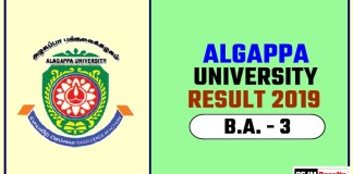 Algappa University BA 3rd Year Result 2019