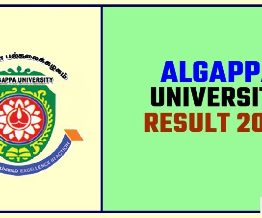 Algappa University Result 2019 BA BSc BCom