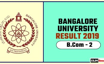 Banglore University BCom 2nd Year Result 2019