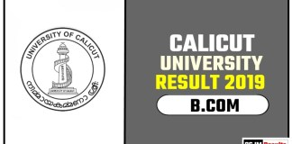 Calicut University BCOM 1st 2nd 3rd Year Result 2019