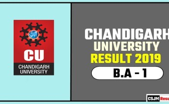 Chandigarh University [CU] BA 1st Year Result 2019