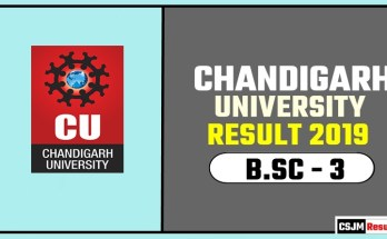 Chandigarh University [CU] BSC 3rd Year Result 2019