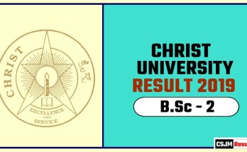Christ University BSc 2nd Year Result 2019