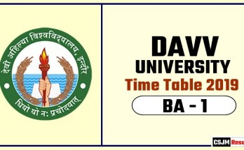 DAVV BA 1 Year Time Table 2019  Devi Ahilya University Date Sheet