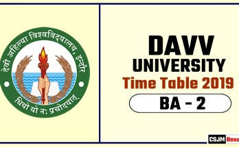 DAVV BA 2 Year Time Table 2019  Devi Ahilya University Date Sheet