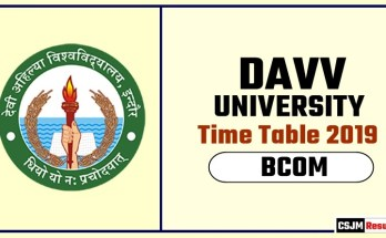 DAVV BCOM 1st BCOM 2nd Year Time Table 2019
